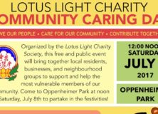 Lotus Light will Hold 2017 Community Caring Day on July 8 at Oppenheimer Park